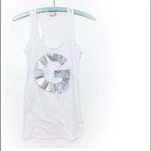 Guess White Bedazzled Tank Top Silver Rhinestones